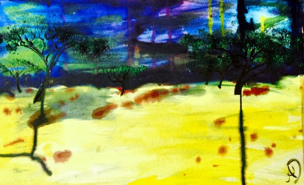 Endless Abstract Land - acrylic and ink painting