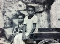Kids on a cart in Banaras, India