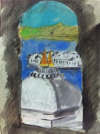 View of the Lake Palace from my hotel room in Udaipur from my India Sketchbook