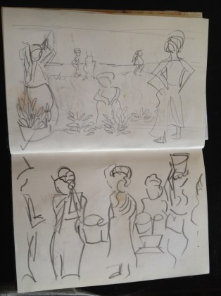 Stage 1 - Initial sketches from the pages from my Tanzanian Sketchbook
