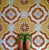 Feet selfie on tiled bathroom floor in Nairobi, Kenya