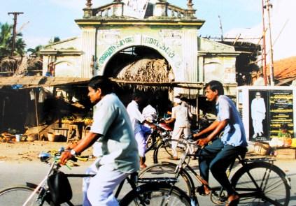 Cyclists in Kanchipurum, Tamil Nadu, India