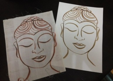 My original sketch with same image copied onto material