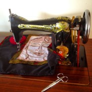 Sewing the cushion on my manual Butterfly sewing machine