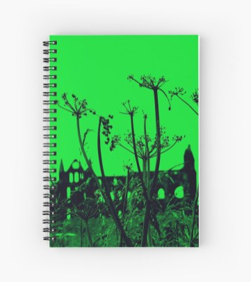 Whitby Abbey in Green - spiral notebook for RedBubble