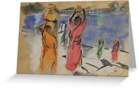 Women carrying water from Pushkar Lake card