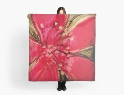 Red Hibiscus Detail - scarf