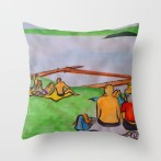 Dreaming of lazy summer afternoons on the banks of Lake Mälaren - throw pillow for Society6