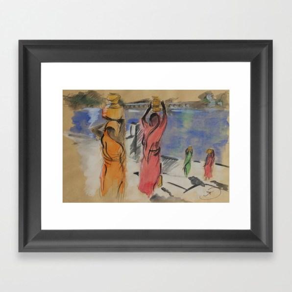 Women carrying water from Pushkar - framed art print