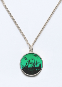 Whitby Abbey in Green - beveled circle pendant for Vida