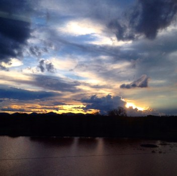 The view at dusk from the window of the Madaraka Express Mombasa-Nairobi Standard Gauge Railway