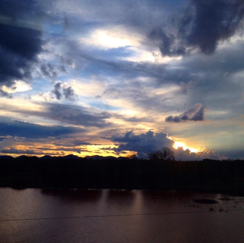 The view at dusk from the window of the Madaraka Express Mombasa-Nairobi Standard Gauge Railway