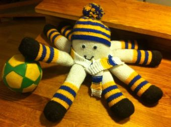 Knitted Leeds United Octopus