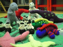 Knitted Dinosaur Village