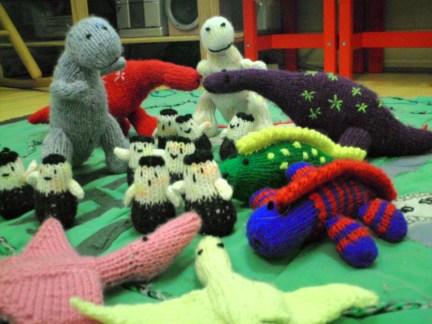 Knitted Dinosaur Village