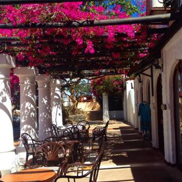 Cafe with bougainvillea canopy at the Serena Beach Resort and Spa in Mombasa, Kenya