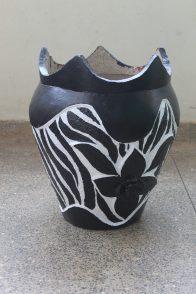 My finished zebra pattern upcycled plant pot