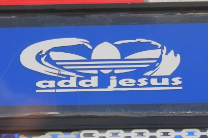 Adidas - Add Jesus - sign on a bus in Nairobi
