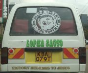 Victory belongs to Jesus on this matatu in Nairobi