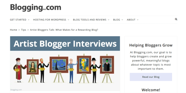 My artist blogger Interview for Blogging dot com