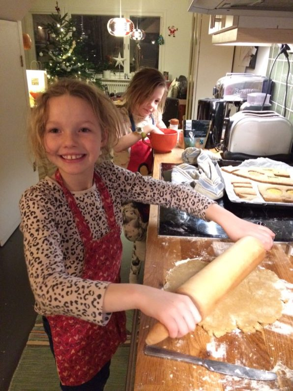 Rolling out the dough for the gingerbread house