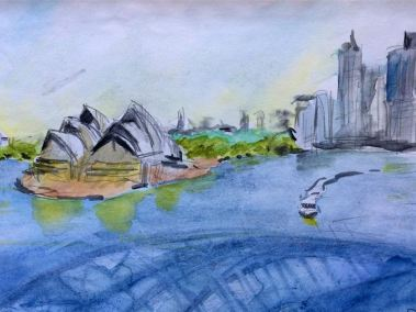 Watercolour sketch of the view from Sydney Harbour Bridge on a sunny day