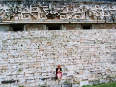 Ali on the steps of the Mayan ruins at Uxmal in Yucatan, Mexico