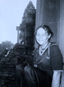 Ali sat on the steps of Angkor Wat in Cambodia