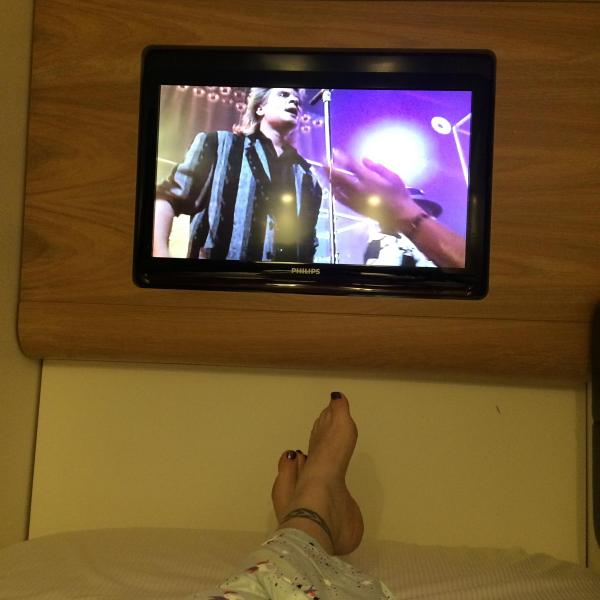 Watching a Duran Duran special in my pod at Yotelair Hotel at Heathrow Terminal 4 in London