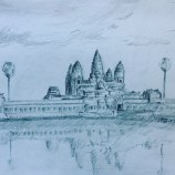Sketch of Angkor Wat in Cambodia
