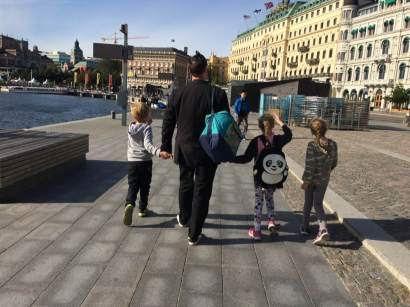Mark with the children in Stockholm