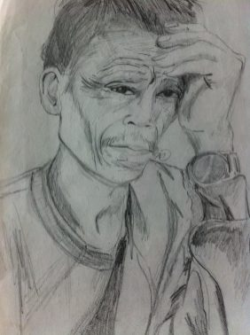 Sketch of a man at Angkor from from my Cambodian sketchbook