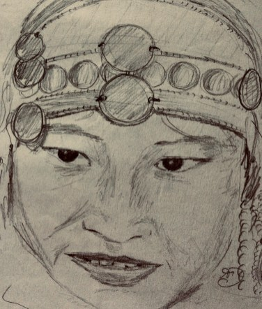Portrait of an Akha Hill Tribe Women from Northern Laos