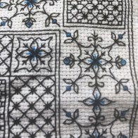 Blackwork embroidered pillow for my mum's 80th birthday