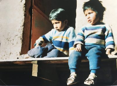 Jacob and Jesus, the children at my accommodation on Ilsa del Sol , Lake Titikaka, Bolivia