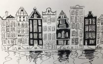 Sketch of Amsterdam houses on the canal