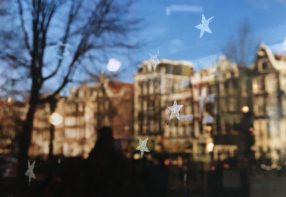 Reflections in the window in Amsterdam