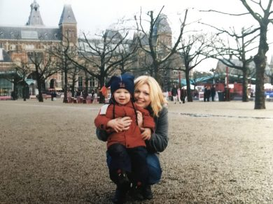 Carol Ann Lee with her son River, outside the Rijksmuseum in Amsterdam