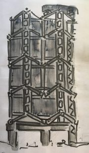 My sketch of HSBC building from my Hong Kong sketchbook