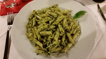 Penne with pine nut, garlic and basil pesto for me