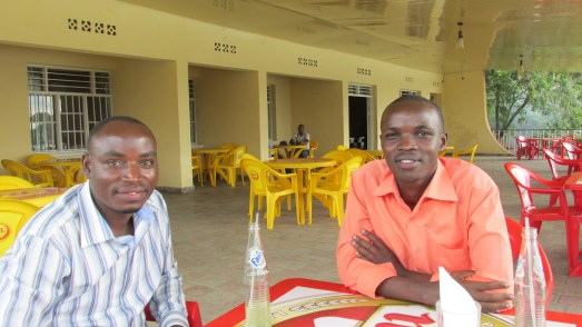 Photo of Emmanuel and Zephaniah at restaurant