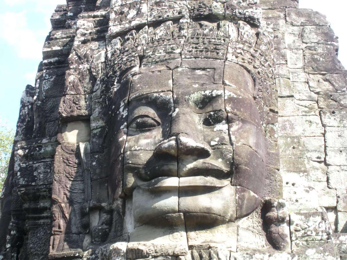 Frontal of a massive head carving at Angkor Wat