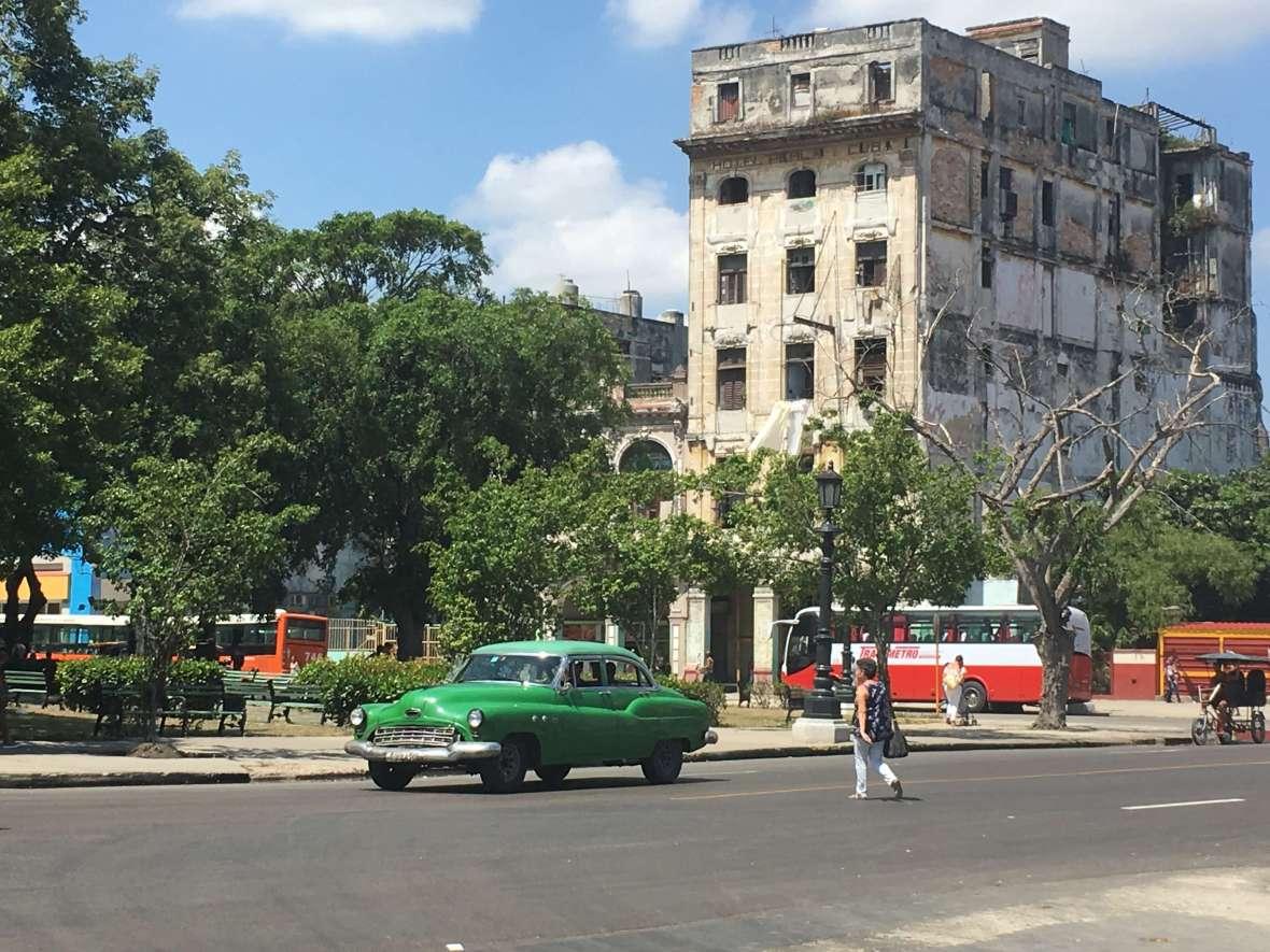 Facade of the Perla Hotel in Havana, Cuba