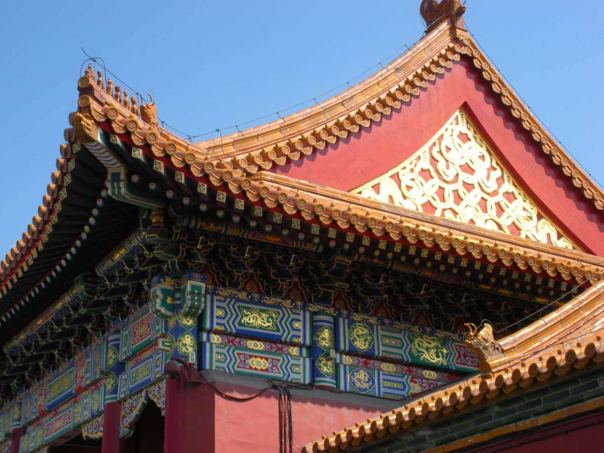 you must see in beijing Delicately decorated roof in the Forbidden City, on of the Beijing highlights
