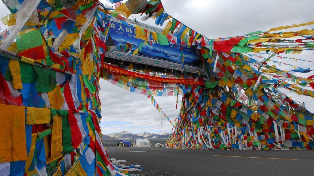 Tibetan prayer flags waving in the wind in Lhasa, Tibet.