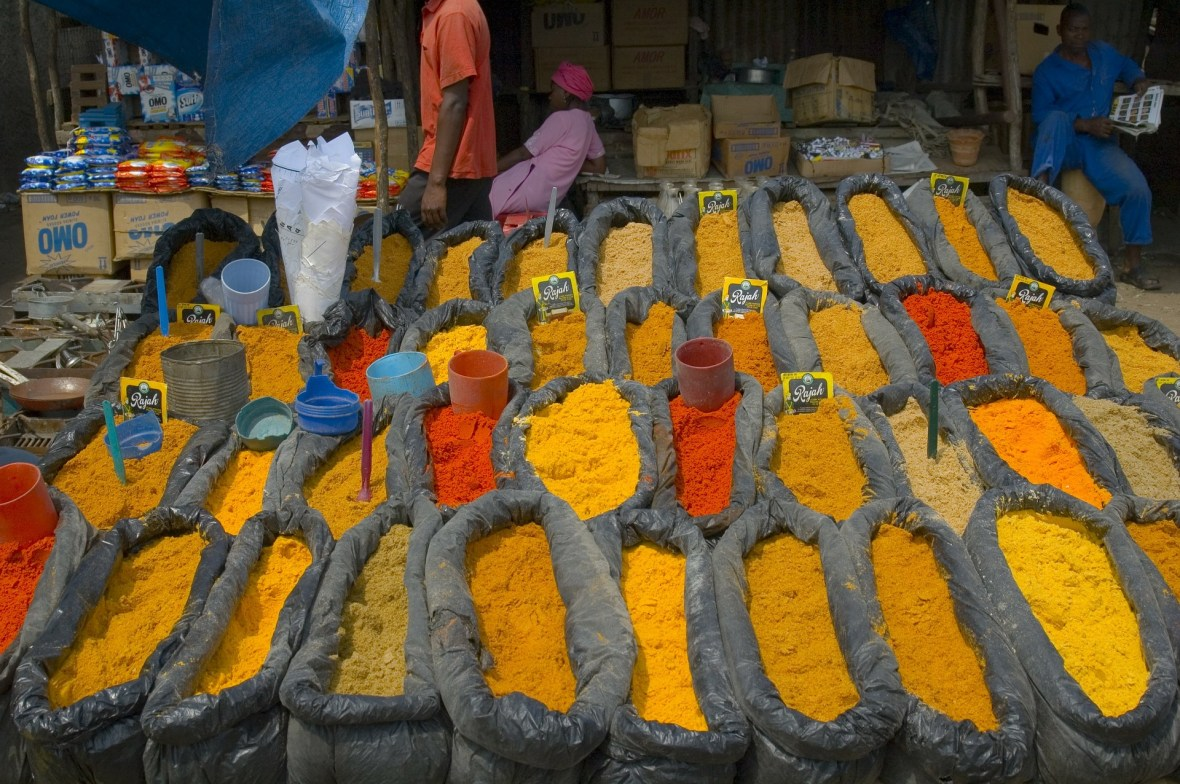 Blazing colors of different spices in a street market in Mozambique