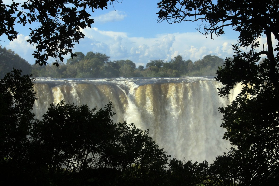 Victoria Falls, world's largest sheet of falling water on Zimbabwe's Zambezi River.