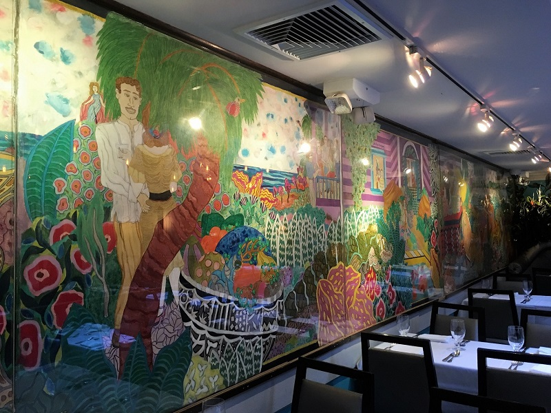 The colorful mural at Victors Cafe serving Cuban cuisine. Cuban restaurants in New York City