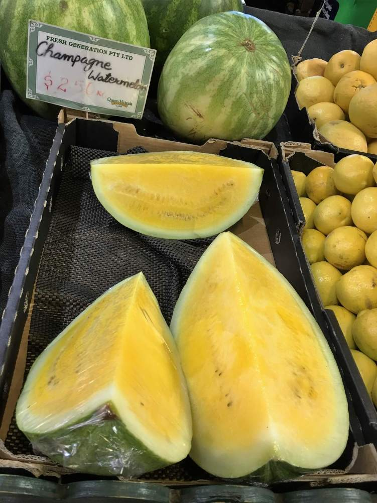 Reasons to visit Melbourne. Champagne watermelons in Victoria market