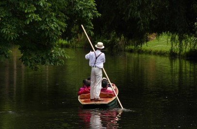 Punting on the Avon River in Christchurch